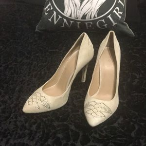IRO Ivory Suede Pumps Silver Studs Heels shoes